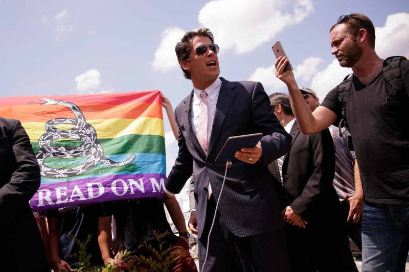 Milo Yiannopoulosholds a press conference in June near the scene of the Pulse Nightclub in Orlando, Florida, where a gunman killed 49 people and wounded 53.