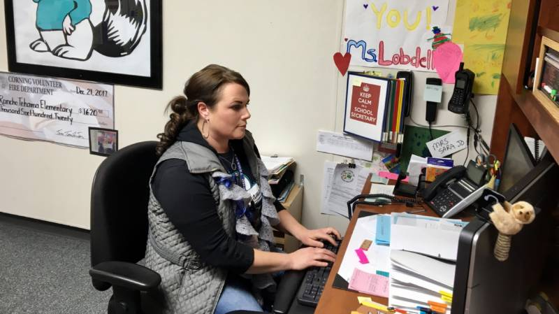 Sarah Lobdell is the secretary at Rancho Tehama Elementary School. When she heard the shots last November, she immediately called for every child and teacher to get inside and go into lock down mode.