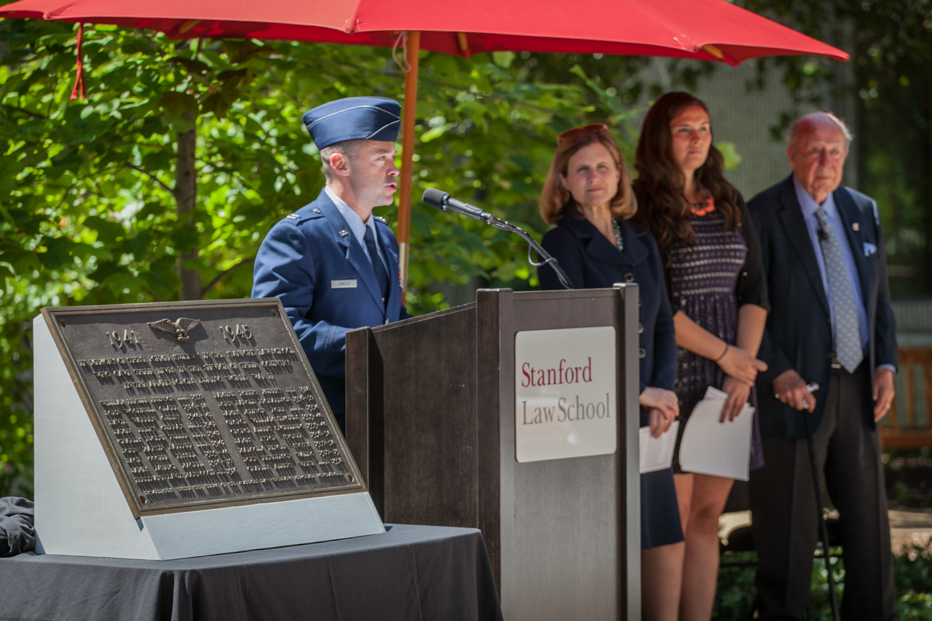 "Christopher ""Tripp"" Zanetis speaks during a ceremony to honor Stanford Law School students and graduates who served in World War II."