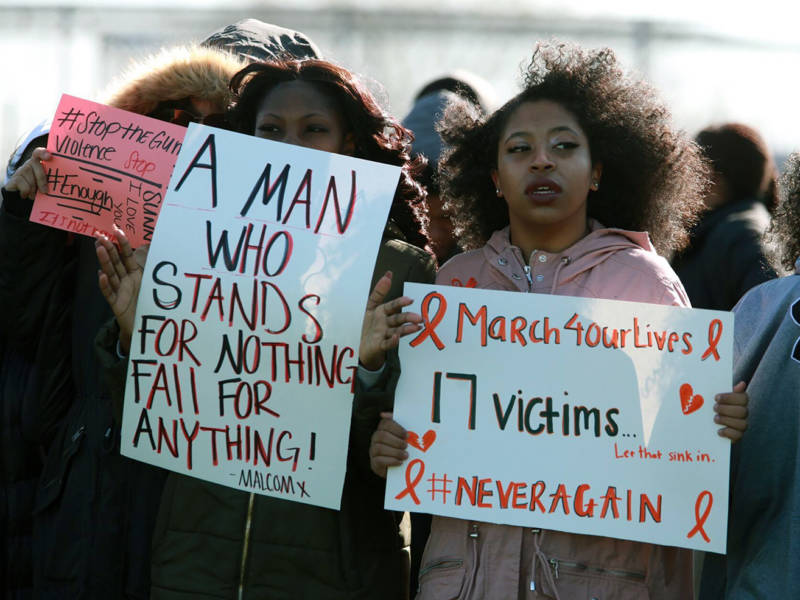 Eastern Senior High students walked out of school to protest gun violence.
