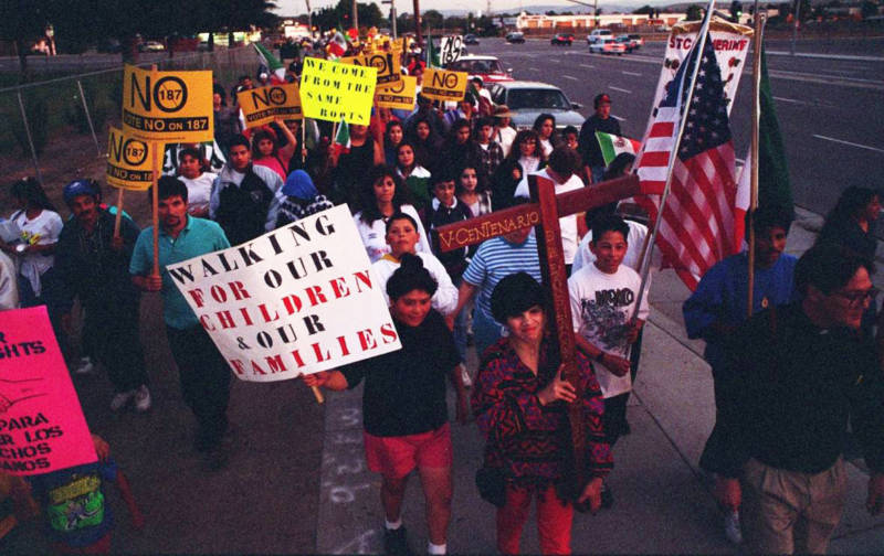 About 200 demonstrators protesting Proposition 187 march along Senter Road in San Jose on Oct. 25, 1994. The march began in Morgan Hill and ended at St. Joseph's Cathedral in downtown San Jose.