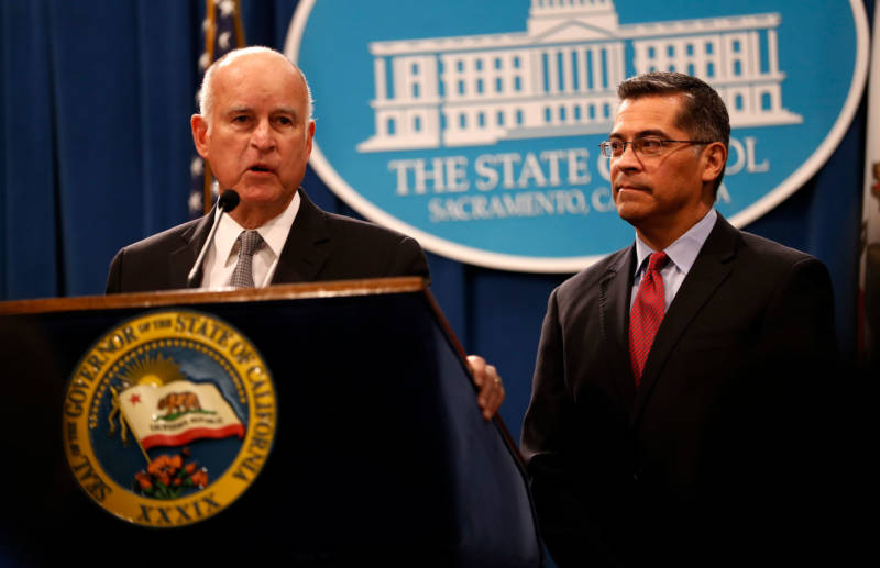 """Our residents and our public officials have a right to know the conditions under which people are detained in these facilities,"" California Attorney General Xavier Becerra said. He spoke at a news conference along with Gov. Brown at the state Capitol on Wednesday."