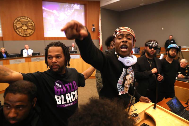 Stevante Clark, brother of Stephon Clark, disrupts a special City Council meeting at Sacramento City Hall on March 27, 2018. Hundreds packed the meeting to address concerns over the shooting death of Stephon Clark by Sacramento police.