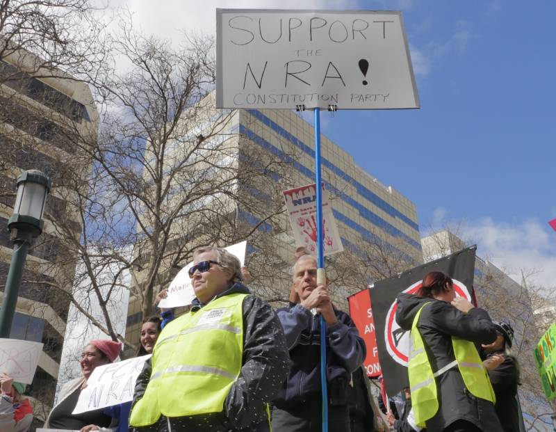 "<strong> ""I'm here today to represent sanity and defend the constitution,"" said Don Grundmann, San Jose, holds a sign in support of the National Rifle Association at the Oakland March for Our Lives event.</strong>"