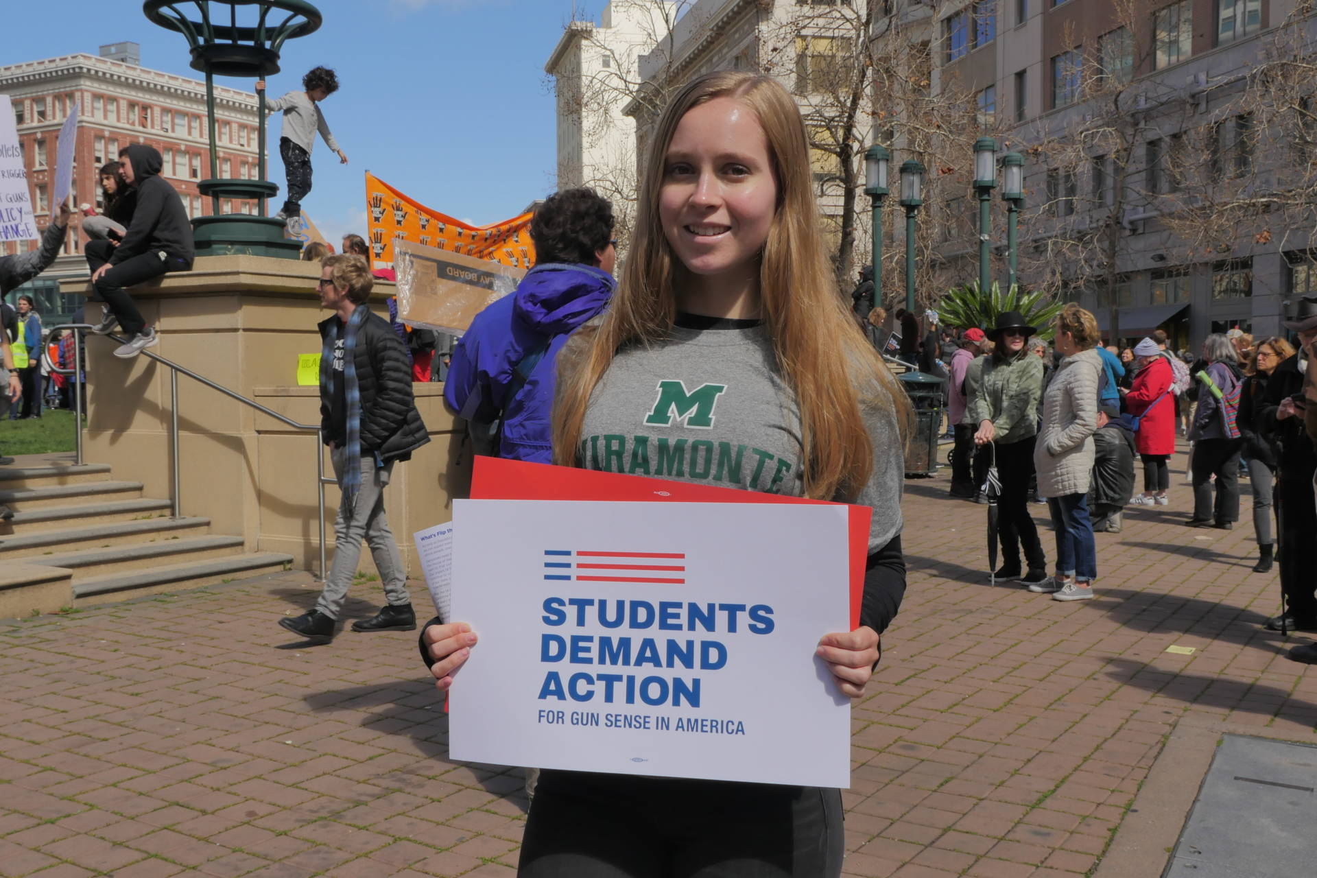 Hannah Smith, 18, demonstrates at the 'March for Our Lives' protest in Oakland, CA. She is a senior at Miramonte High School in Orinda, CA.