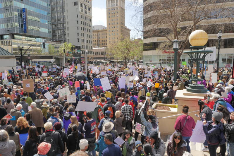 Crowds filled streets in downtown Oakland as part of the March for Our Lives protest.