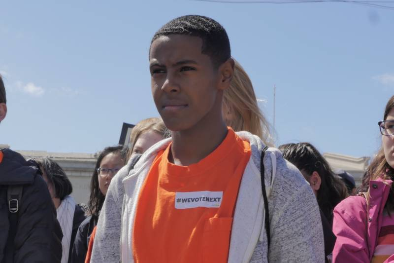 """I'm here because I think it's insane that I should ever have to question my right to be safe in my city and in my school,"" said Samuel Gatechew, 15, from Oakland Technical High School."
