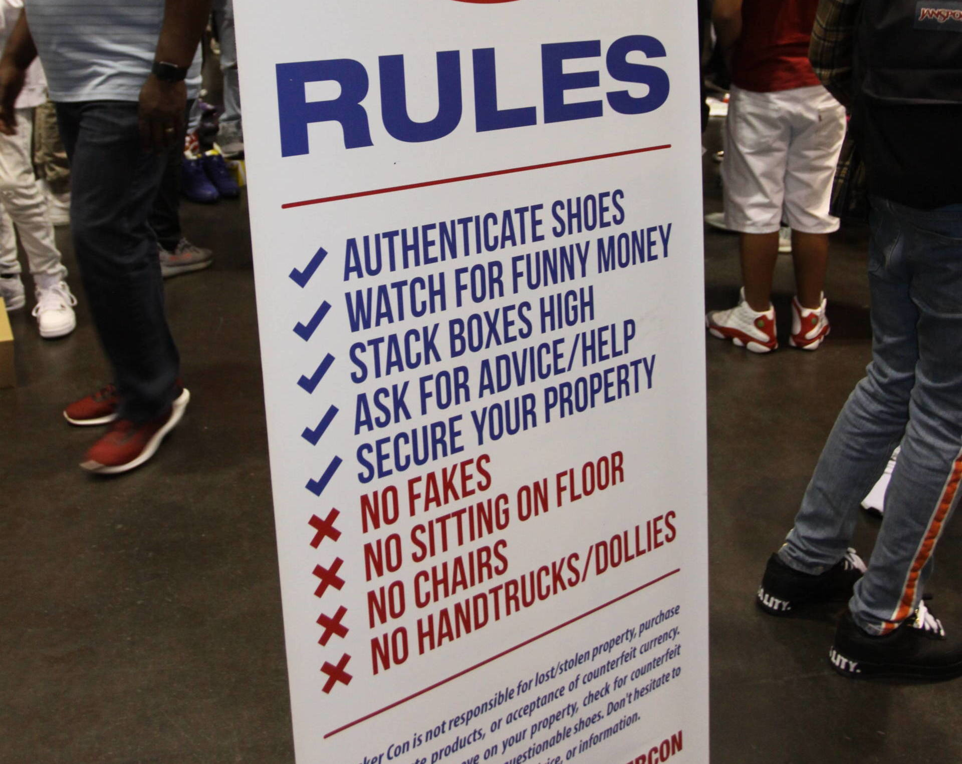 Buyers and sellers can set up informal displays on the floor of the Sneaker Con Trading Pit. This sign lays down some ground rules.