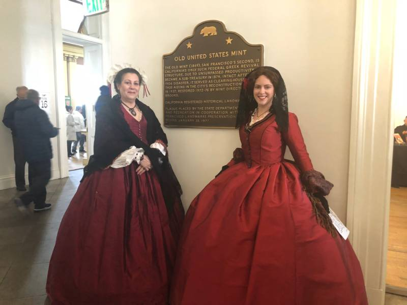 Two women dressed in Victorian attire greeted people as they came into the Old Mint for San Francisco History Days. The woman on the right is emulating Lola Montez and her famous spider dance.