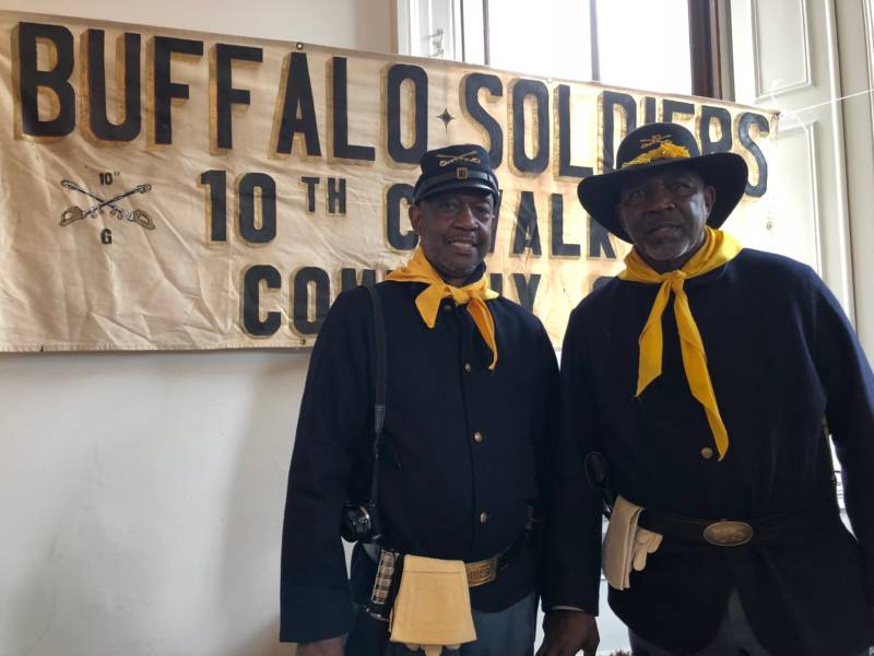 The Buffalo Soldiers live on in these volunteers. Part of a national organization, Bernard Ivey (left) and Bill Terrell (right) help share the oral history of the Buffalo Soldiers.