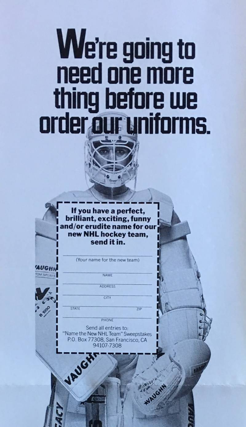 """This ad ran in the San Francisco Chronicle, Oakland Tribune and San Jose Mercury News as part of the """"name the team"""" sweepstakes."""