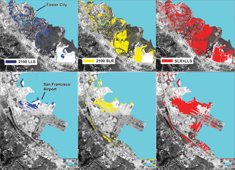 Berkeley and ASU researchers calculate land loss from sinking land (blue), sea level rise (yellow), and the two phenomena together (red).