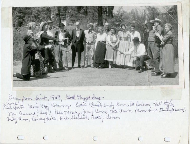 First Gold Nugget Committee 1959, in celebration of discovery of the 54 pound nugget on April 12,1859.
