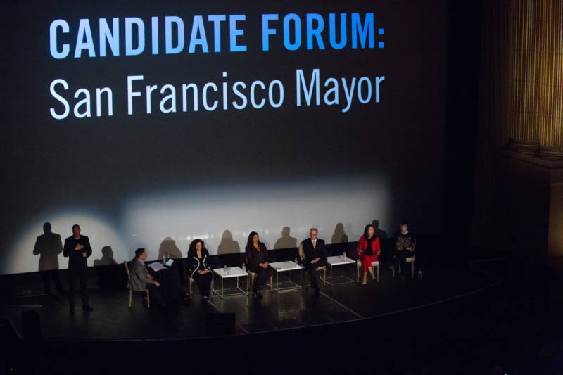 San Francisco mayoral candidates Angela Alioto, London Breed, Richie Greenberg, Jane Kim and Amy Farah Weiss at a debate in the Castro Theater in San Francisco on March 19, 2018.