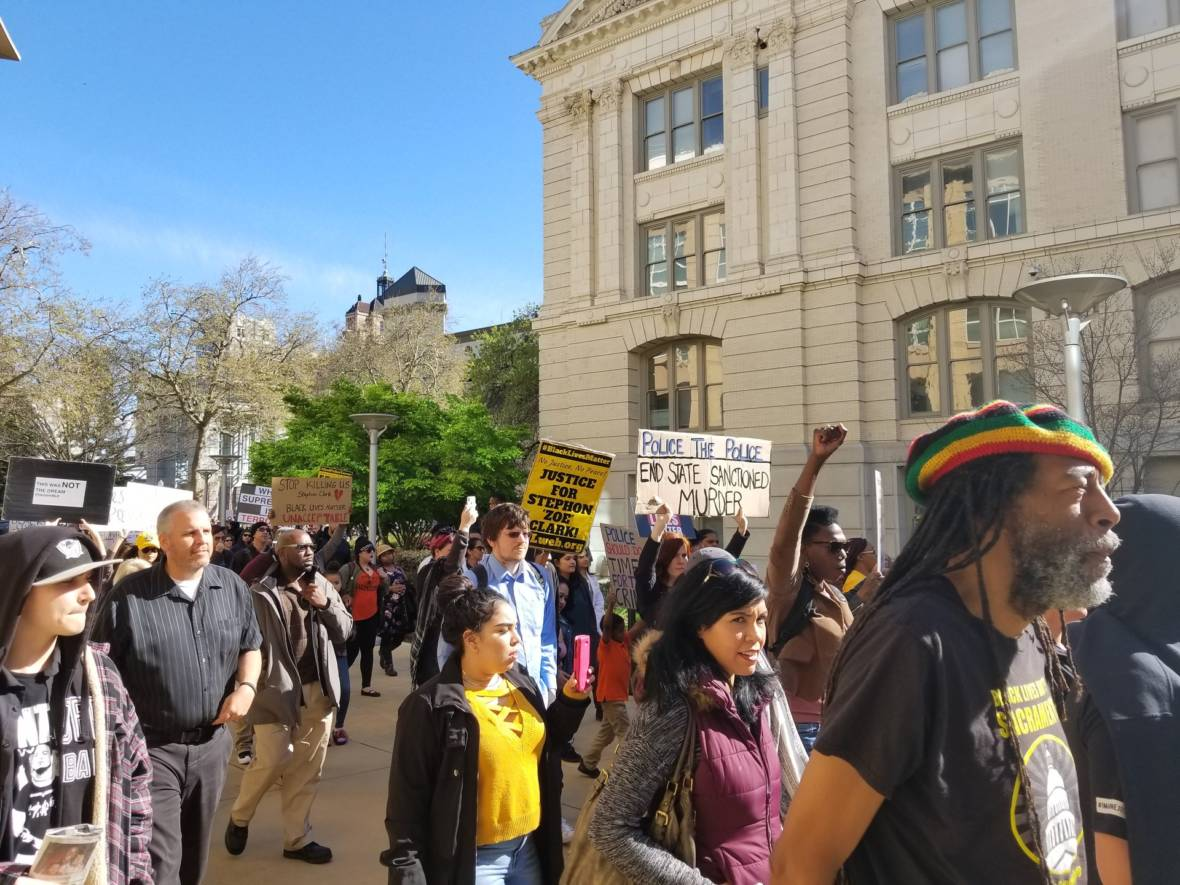 Demonstrators Protest Sacramento Police Fatal Shooting of Unarmed Black Man