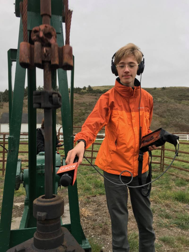 Today, Bay Curious question asker. Tomorrow, Bay Curious reporter? Alden Hughes records the sound of a working pump unit.