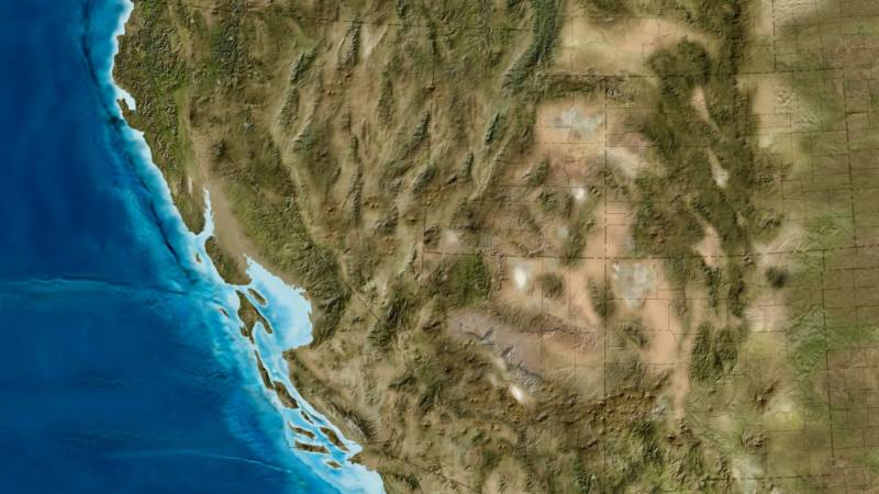 Detail from a paleogeologic map of the North American West Coast during the Miocene Epoch produced by Ron Blakey of Colorado Plateau Geosystems/Deep Time Maps. Look closely and you can make out the faint border of modern-day California -- out in the Pacific Ocean.