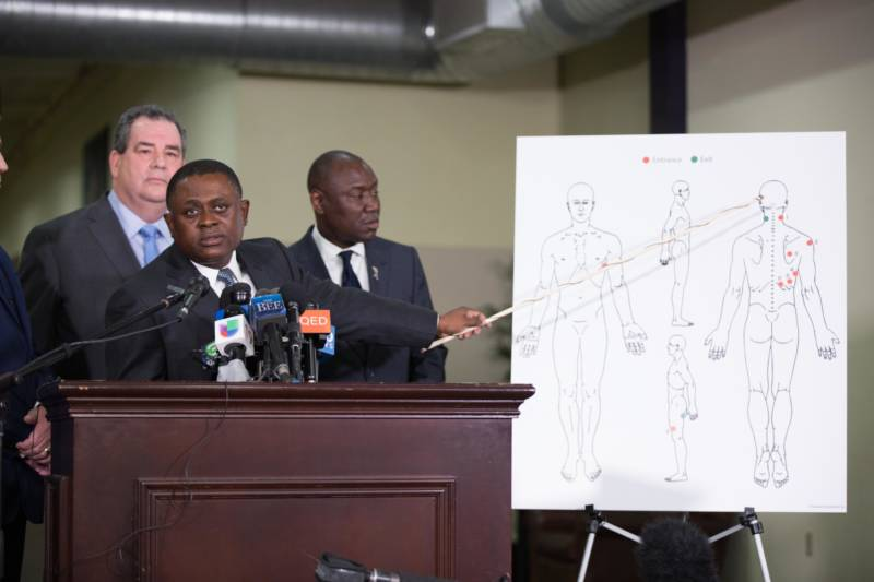 Dr. Bennet Omalu and attorney Benjamin Crump gave a press conference about the results of a private autopsy of Stephon Clark. Dr. Omalu's findings indicate Clark was shot in the side and back.
