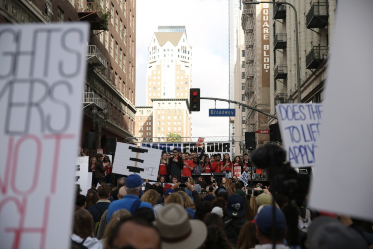 Crowds demonstrate in downtown Los Angeles for the March for Our Lives rally to protest gun violence, on March 24, 2018.