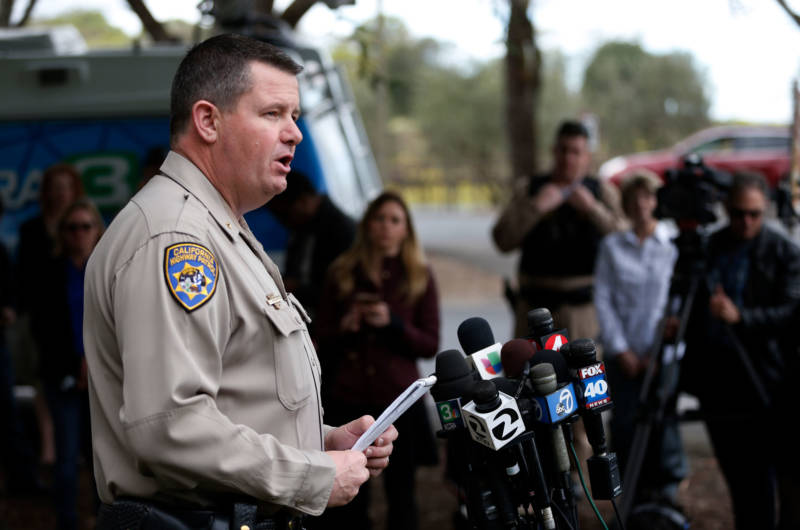 Chris Childs, assistant chief of the California Highway Patrol, speaks at a press conference during an active shooter situation at the Veterans Home of California on March 9, 2018 in Yountville.