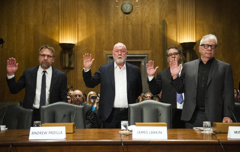 Backpage.com executives — CEO Carl Ferrer (from left), former owner James Larkin, Chief Operating Officer Andrew Padilla, former owner Michael Lacey -- are sworn in to testify before a Senate Homeland Security and Governmental Affairs subcommittee on investigations, Jan. 10, 2017.