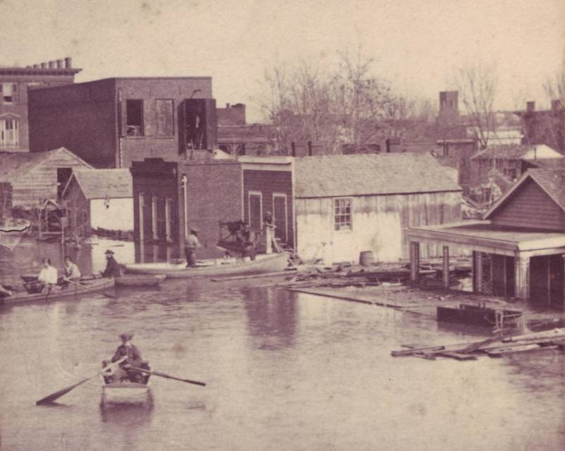 Flood waters inundate Sacramento in 1862. Scientists warn that events like the Great Flood of 1862 could occur every 50 years by the end of this century.