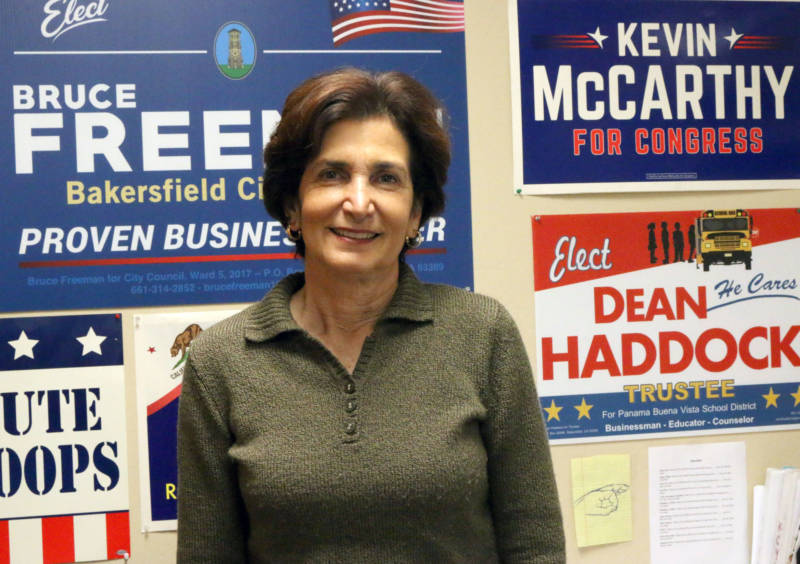 """Republican Consultant Cathy Abernathy in her office at Western Pacific Research. Abernathy says if McCarthy were to become speaker, it would be """"a real treat"""" for Bakersfield."""
