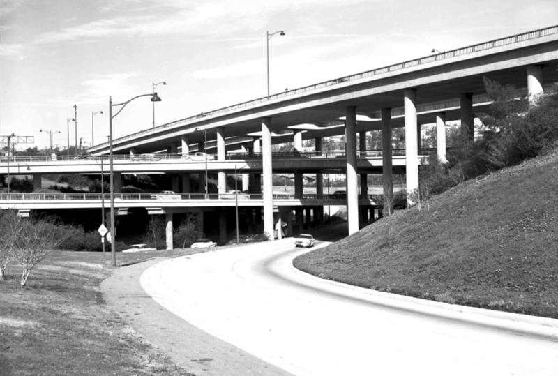 Four-level interchange of the 110 and 101 freeways looking northwest, 1956.