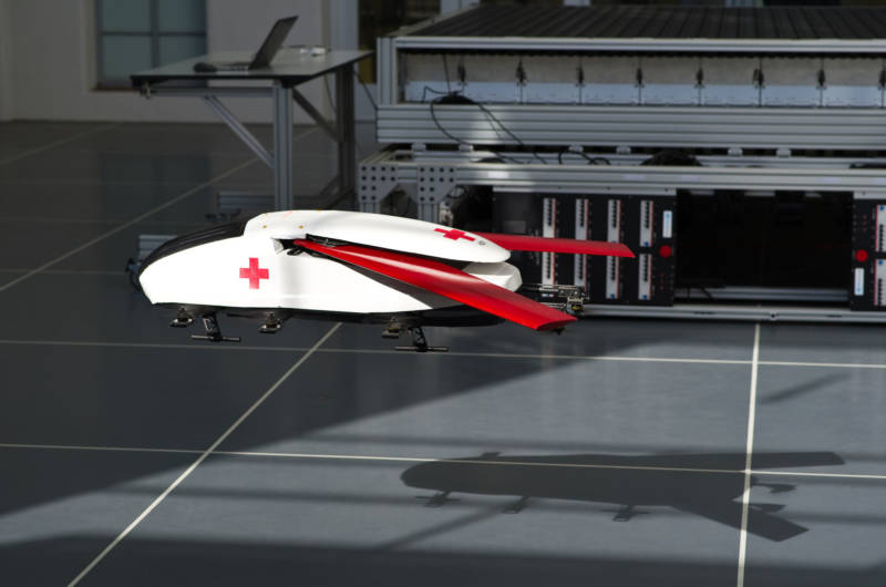 The scale-model ambulance robot comes in for a landing at CAST's indoor-outdoor drone arena.