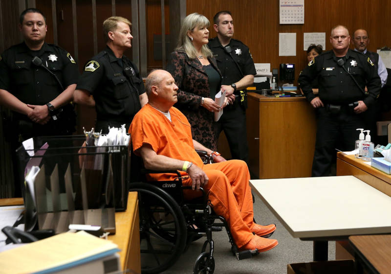 Joseph James DeAngelo, the suspected 'Golden State Killer', appears in court for his arraignment on April 27, 2018 in Sacramento.