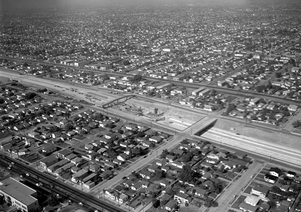 Grading the roadbed of the Harbor Freeway, 1958.