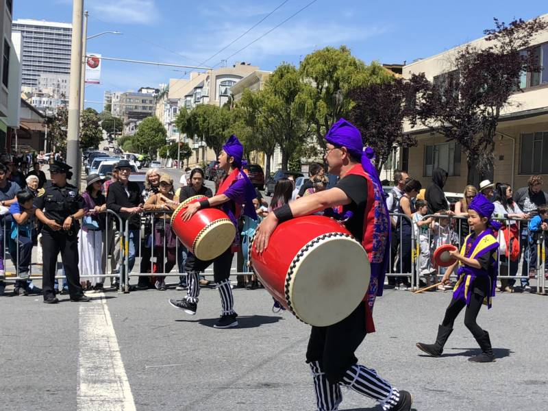 Traditional drum groups were part of the Cherry Blossom Festival parade.