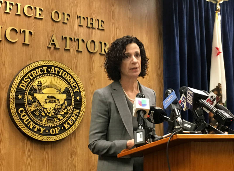 Kern County District Attorney Lisa Green speaks at a press conference on Wednesday. Green announced that her office will not bring charges against two ICE agents for their role in a car crash that resulted in the deaths of two undocumented immigrants in Delano in March.