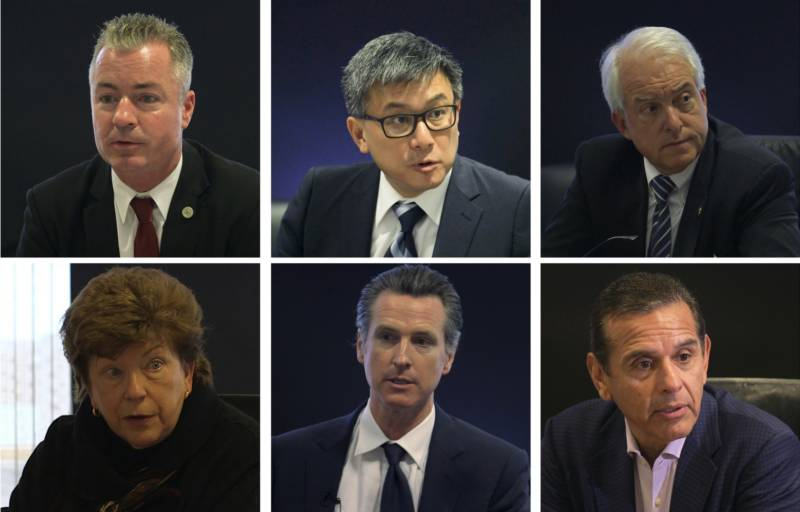 Candidates for California Governor, from top left: Republican Travis Allen, Democrat John Chiang, Republican John Cox, Democrats Delaine Estin, Gavin Newsom and Antonio Villaraigosa.