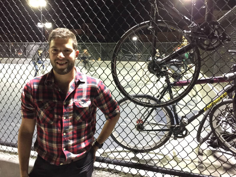 Bay Curious listener Cliff Bargar poses by the Dolores Park court where you can find bike polo being played almost any night of the week.