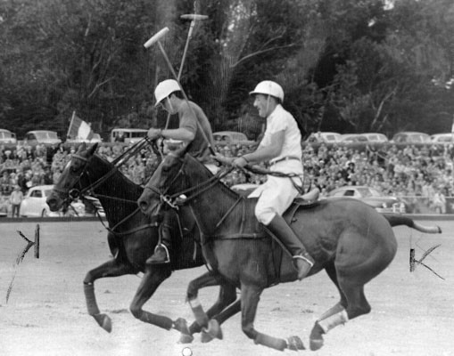 Enrique Alberdi (R) of the famed Argentine polo team plays alongside Larry Sherrin (L) of the Texas Hurricanes play polo at the Polo Field at Golden Gate Park on May 7, 1949.