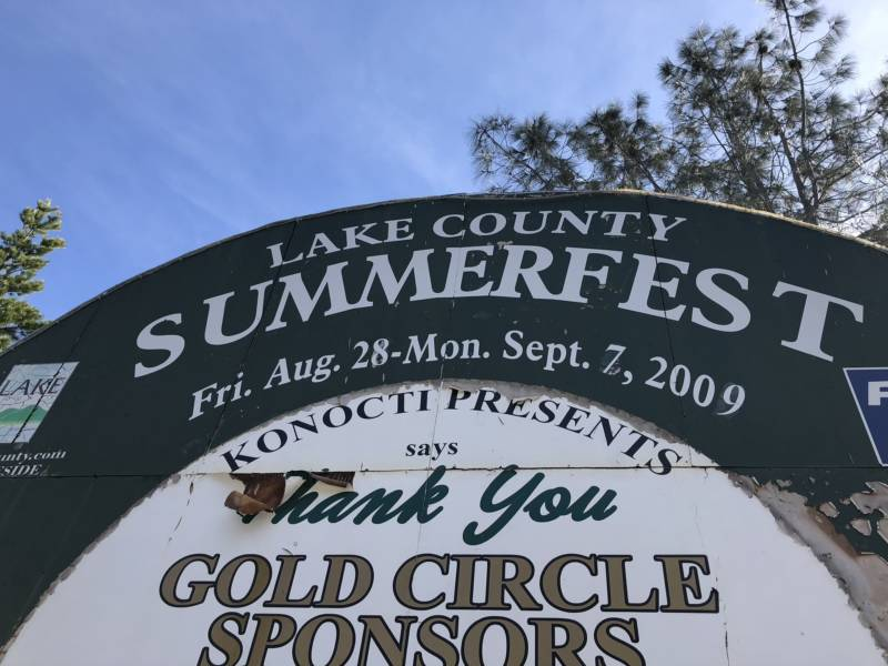 The signage at Konocti Harbor Resort and Spa's front gate still advertises Summerfest 2009, the year the resort had to close.
