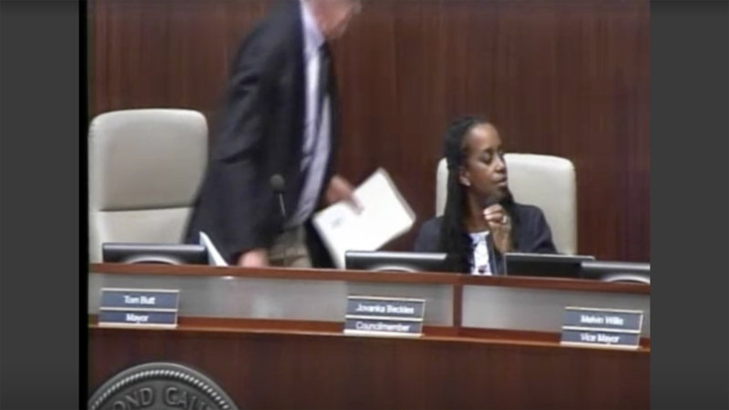 A screenshot from KCRT of Richmond Mayor Tom Butt walking out of a City Council meeting on Tuesday.