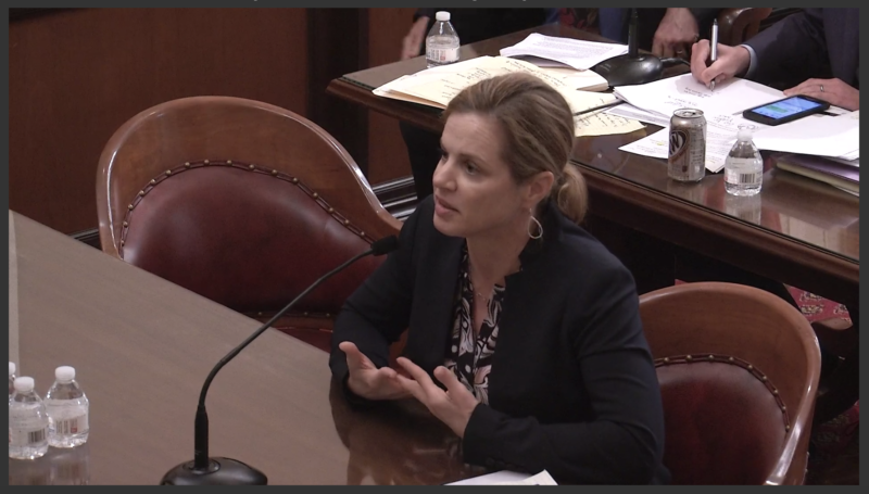 Insurance industry representative Kara Cross repeatedly told the state Senate Committee on Insurance that proposed changes to existing law would make rates go up.