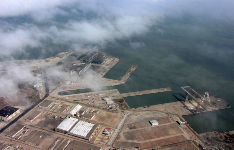 An aerial view of the Hunters Point Naval Shipyard.