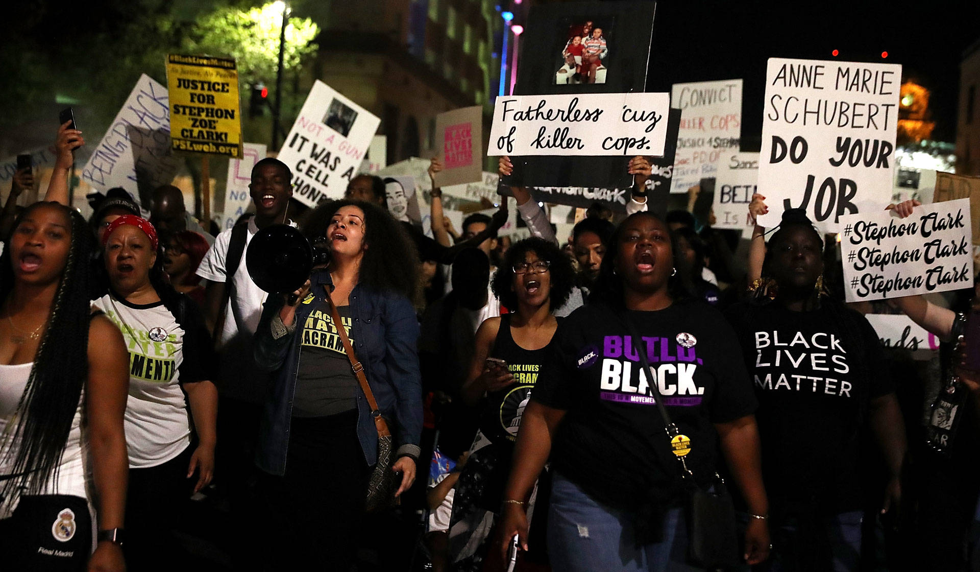 Black Lives Matter protesters march through the streets of Sacramento during a demonstration on March 30, 2018, one day after Stephon Clark's funeral. Justin Sullivan/Getty Images