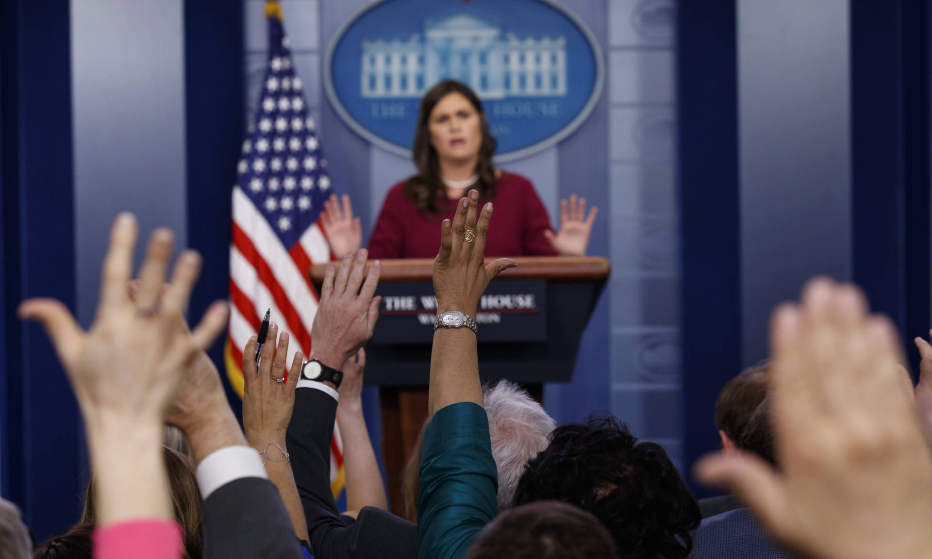 White House press secretary Sarah Sanders said at a briefing on Tuesday that President Trump was frustrated by the special counsel's investigation. Evan Vucci/AP