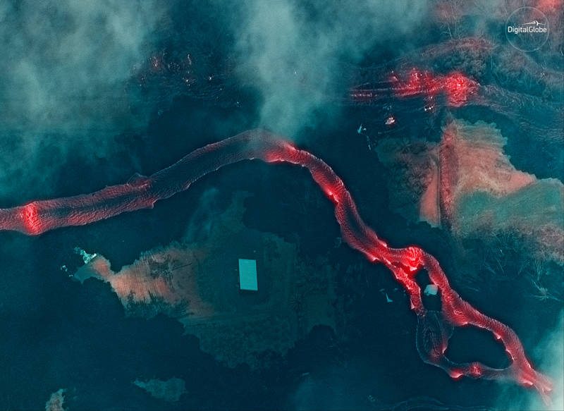 An infrared satellite image shows the lava flows along the East Rift Zone, just to the east of Leilani Estates and due south of the Puna Geothermal Venture.