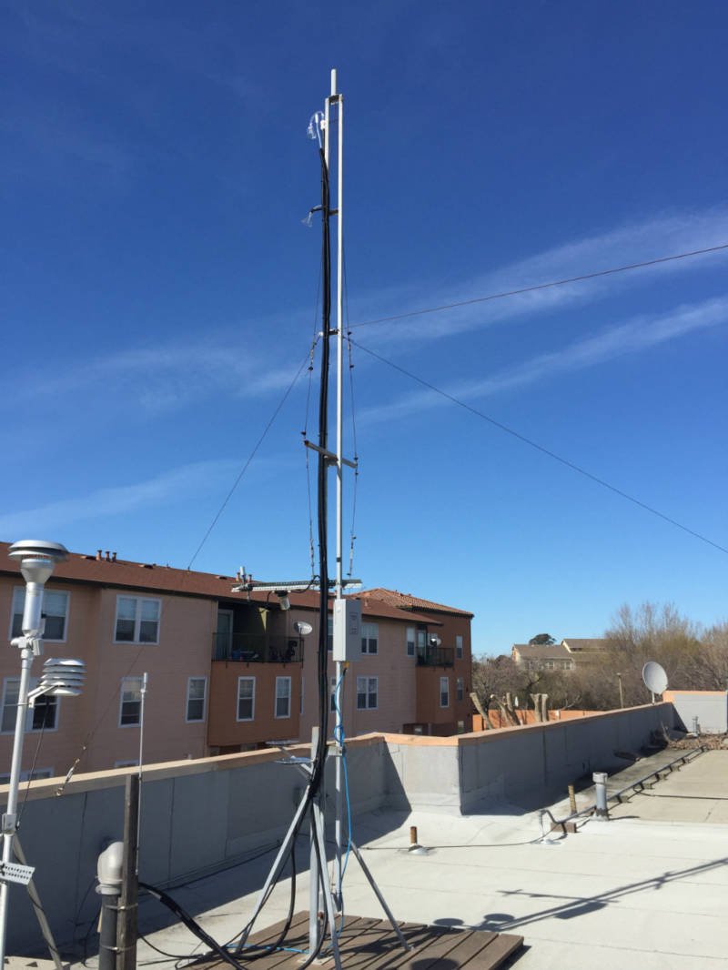 Air monitoring equipment set up on a roof.