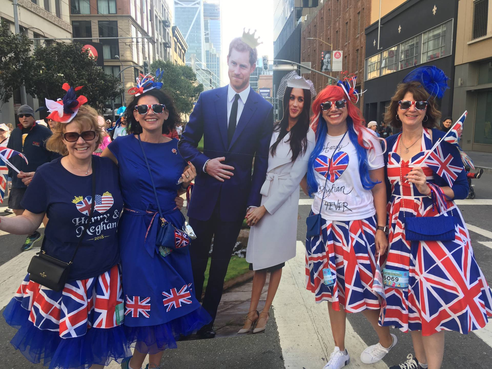 The royal wedding procession makes an appearance at the 107th annual Bay to Breakers in San Francisco. From right to left: Heidi LaBudde, Mollie Beeman, Emily Daley, Bonny Starr. Peter Arcuni/KQED