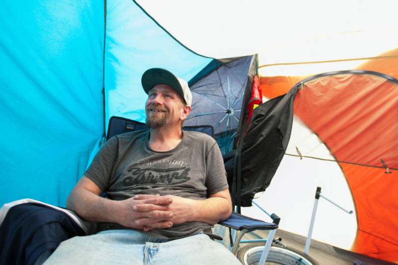 Craig Aslin is originally from Virginia. He was staying in a tent in Hollywood on Friday, March 16, 2018.