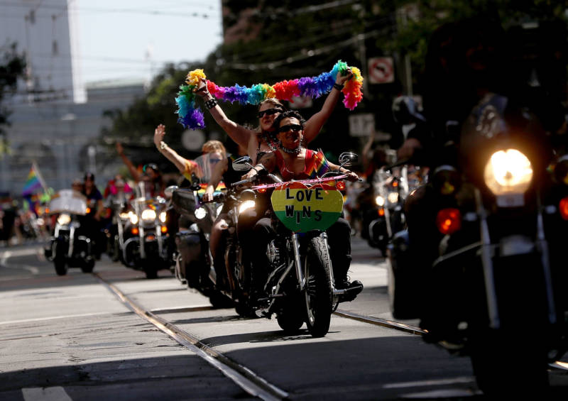 Members of Dykes on Bikes lead the 2016 San Francisco Pride Parade on June 26, 2016.