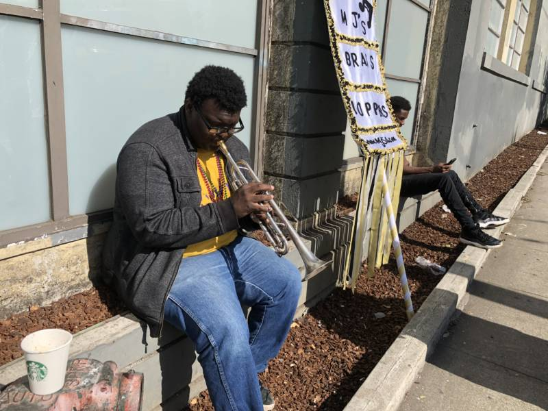 "'I've been with these cats on and off,' David McKissich said of his group MJ's Brass Boppers Brass Band, while getting warmed up. 'When I heard about it I was like ""I'll be there."" '"