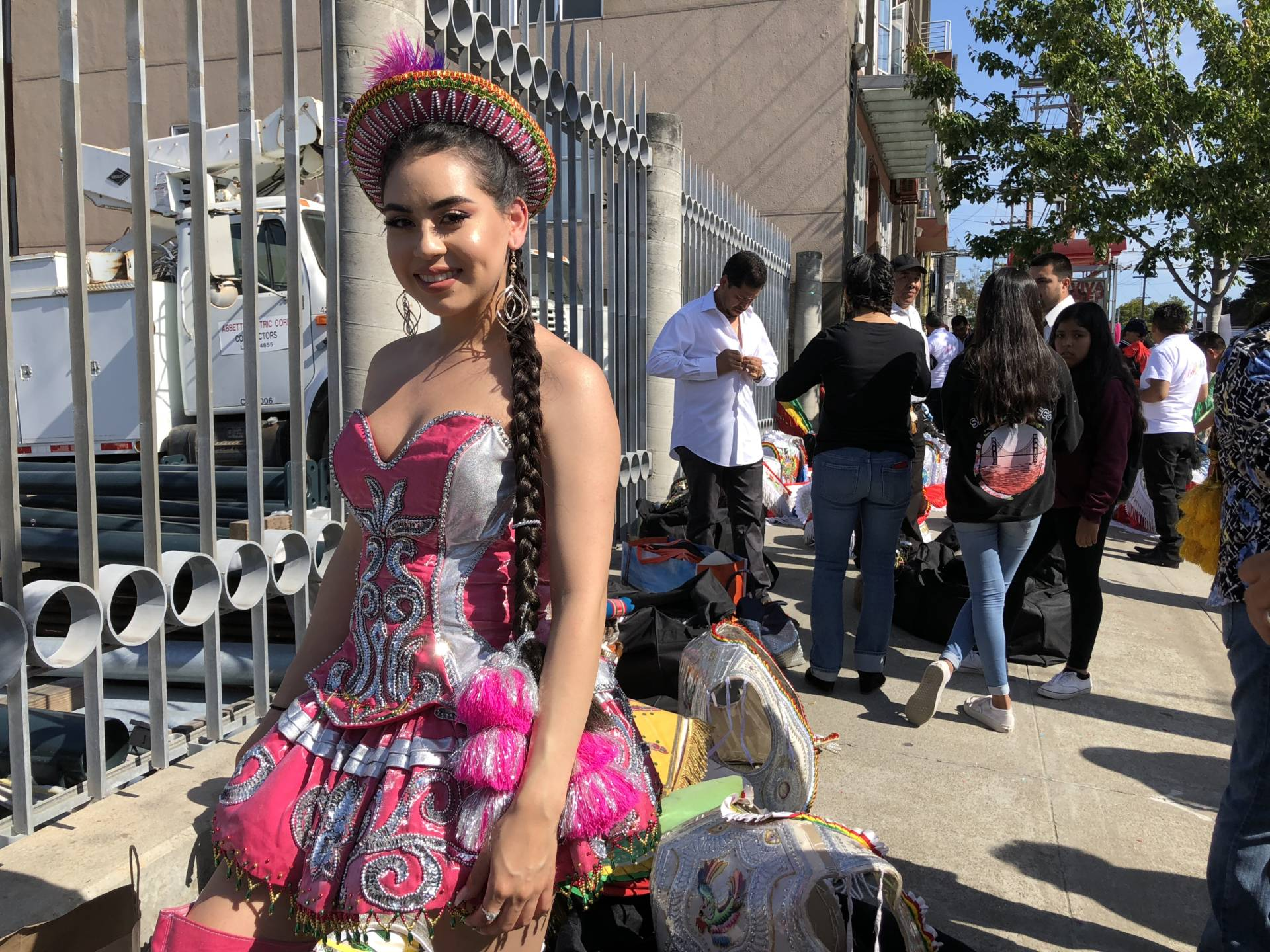 Tania Olmos woke up at 5:40 a.m. to get up and ready for today's Carnaval. She's part of the group Morenada para el Mundo 100% es Boliviana, a group made up entirely of Bolivians wearing elaborate outfits.  Bianca Hernandez/KQED