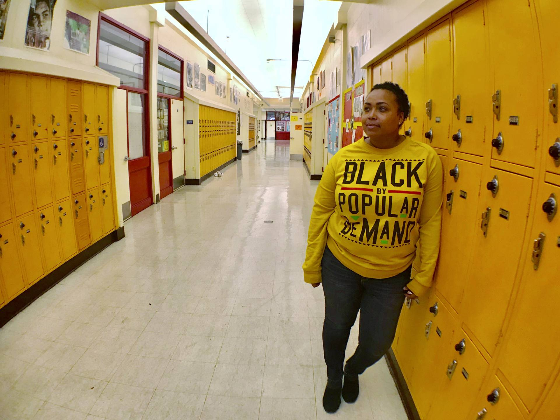 """Fremont High School Media Academy teacher and alumna Jasmene Miranda says, """"We didn't really have what other kids had at the time."""" Tonya Mosley/KQED"""